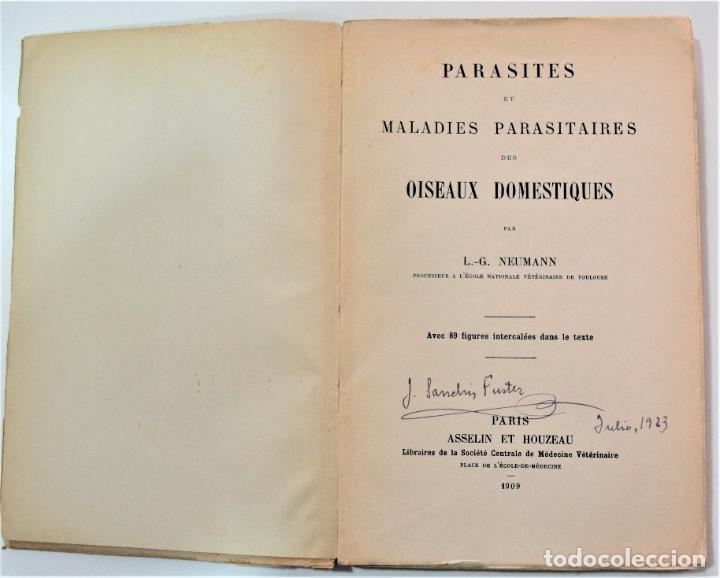 Libros antiguos: PARÁSITOS Y ENFERMEDADES PARASITARIAS DE LOS ANIMALES DOMÉTICOS - NEUMANN - EN FRANCÉS - PARÍS 1909 - Foto 3 - 214992925