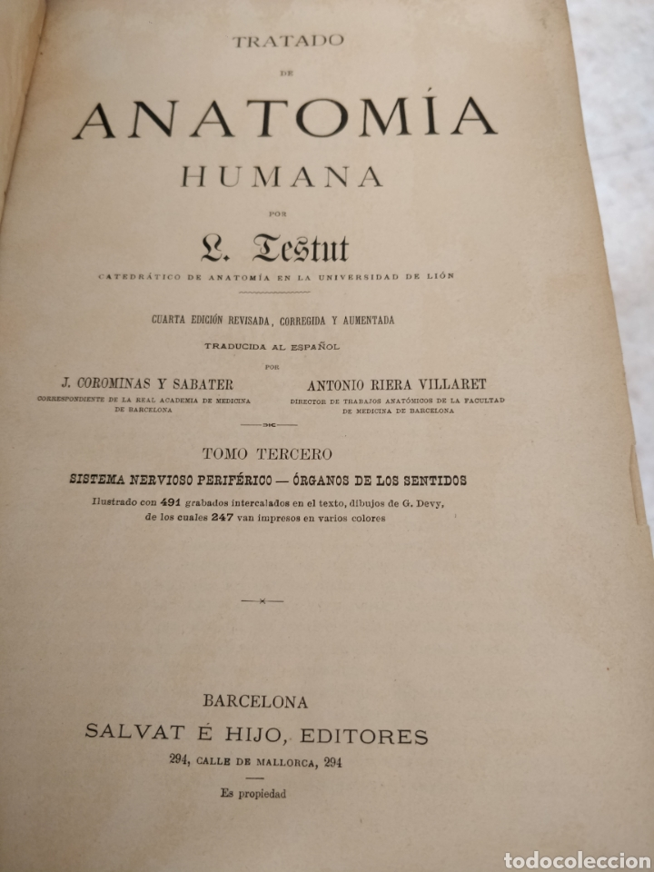 Libros antiguos: TESTUT-ANATOMÍA HUMANA 4 TOMOS. - Foto 6 - 216000706
