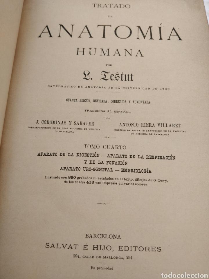 Libros antiguos: TESTUT-ANATOMÍA HUMANA 4 TOMOS. - Foto 7 - 216000706