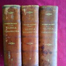 Libros antiguos: LIBROS ANTIGUOS 3 TOMOS DE CLÍNICA TERAPÉUTICA 1890. Lote 217640312