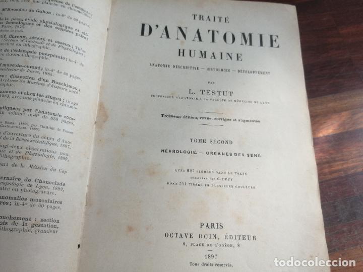 Libros antiguos: Medicina. Libro de Anatomía Humana. Traité dAnatomie Humaine. Vol 2. 1897. Autor: L. Testut. - Foto 2 - 218399151