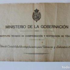 Libros antiguos: LIBRO DE CONTABILIDAD DE ESTUPEFACIENTES PARA FARMACIAS, 1929. Lote 219011352