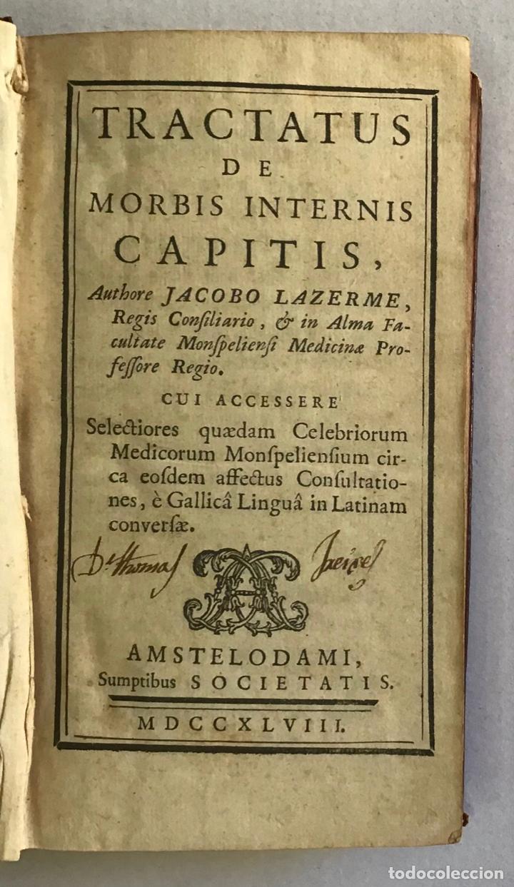 TRACTATUS DE MORBIS INTERNIS CAPITIS. - LAZERME, JACOBO. 1748 (Libros Antiguos, Raros y Curiosos - Ciencias, Manuales y Oficios - Medicina, Farmacia y Salud)