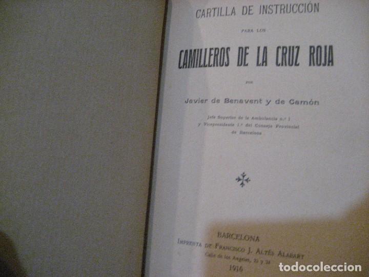 Libros antiguos: Cartilla de instruccion para los camilleros de la cruz roja . 1916 javier de benavent . barcelona - Foto 2 - 222268112