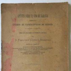 Libros antiguos: APUNTES SOBRE EL VINO DE NARANJA PRESENTADO AL COLEGIO DE FARMACÉUTICOS DE MADRID, EN DEMANDA.... Lote 228409890