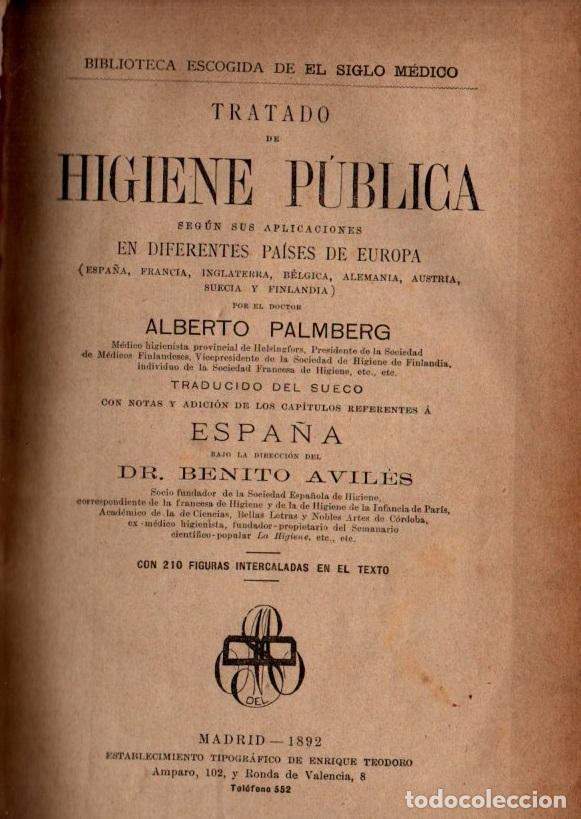 PALMBERG : TRATADO DE HIGIENE PÚBLICA EN DIFERENTES PAÍSES DE EUROPA (1892) (Libros Antiguos, Raros y Curiosos - Ciencias, Manuales y Oficios - Medicina, Farmacia y Salud)