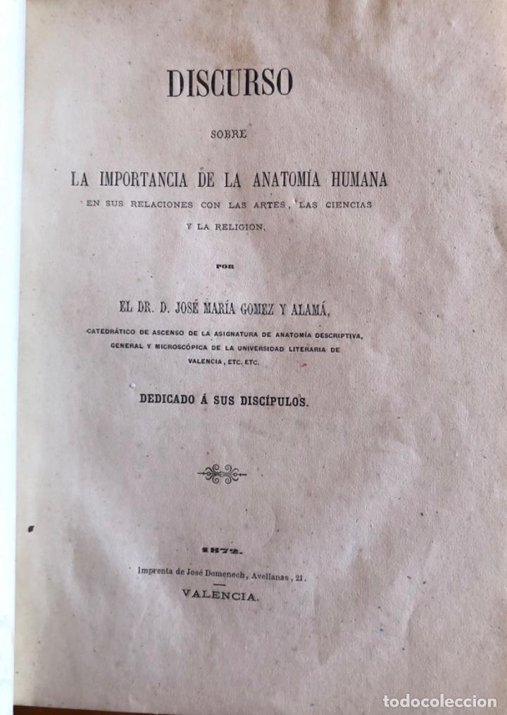 VALENCIA- ANATOMIA HUMANA- JOSE Mª GOMEZ Y ALAMA- DISCURSO 1872 (Libros Antiguos, Raros y Curiosos - Ciencias, Manuales y Oficios - Medicina, Farmacia y Salud)