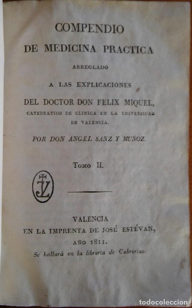 COMPENDIO DE MEDICINA PRÁCTICA. VALENCIA, 1811 (Libros Antiguos, Raros y Curiosos - Ciencias, Manuales y Oficios - Medicina, Farmacia y Salud)