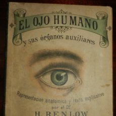 Libros antiguos: ANTIGUO LIBRO TROQUELADO OJO HUMANO Y SUS ORGANOS AUXILIARES. RENLOW. BAILLY BALLIERE OFTALMOLOGIA,. Lote 235565125