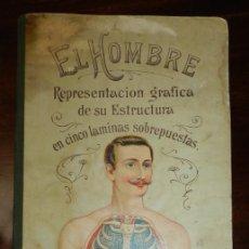 Libros antiguos: ANTIGUO PRECIOSO LIBRO EL HOMBRE 5 LAMINAS TROQUELADAS POP UP, POR RAFAEL DEL VALLE, ED.RAILLY, TAPA. Lote 235581175
