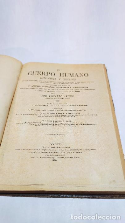 Libros antiguos: El cuerpo humano. estructuras y funciones. Eduardo Cuyer. 2 tomos. Desplegables. Madrid. 1880. - Foto 23 - 236137325
