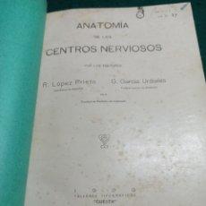 Libros antiguos: ANATOMÍA DE LOS CENTROS NERVIOSOS. LÓPEZ PRIETO Y GARCÍA URDIALES 1929. Lote 239509415
