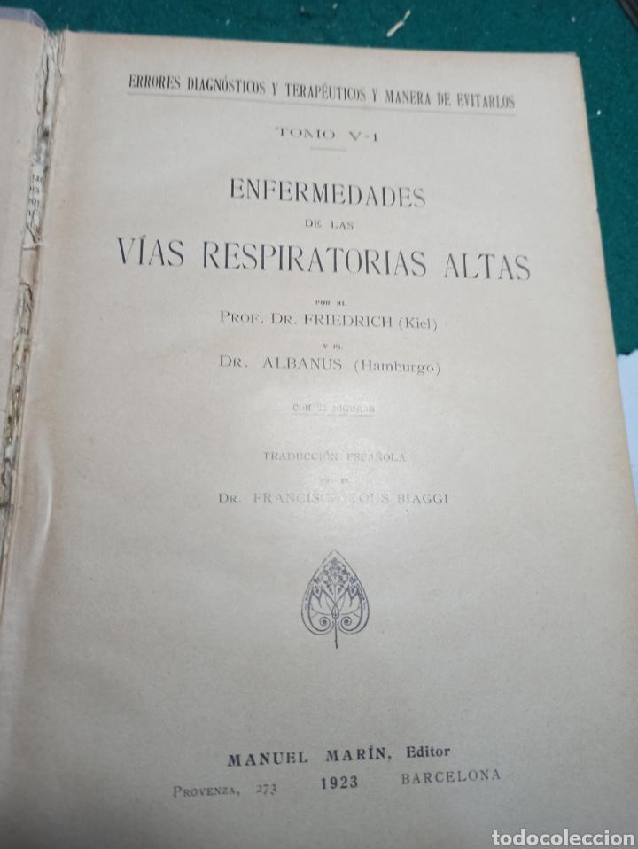 Libros antiguos: Errores diagnósticos y terapéuticos y manera de evitarlos. Vías respiratorias altas. 1923 - Foto 2 - 240285840