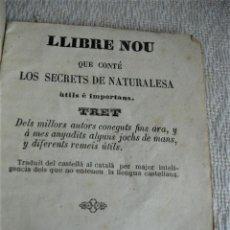 Libros antiguos: LLIBRE NOU QUE CONTÉ LOS SECRETS DE NATURALEZA 1856. Lote 243921030