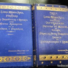Libros antiguos: LIBRO MÉDICO AZUL (2 VOLÚMENES) 1883. Lote 244019975