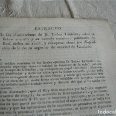 Libros antiguos: ESTRACTO DE LAS OBERVACIONES DE D. TADEO LAFUENTE, SOBRE LA FIEBRE AMARILLA 1821. Lote 244401390