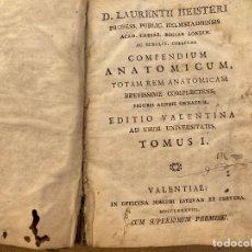 Libri antichi: 1788 ''COMPENDIUM ANATOMICUM: TOTAM REM ANATOMICAM BREVISSIME COMPLECTENS'' DEL DR. LORENZ HEISTER. Lote 246293960