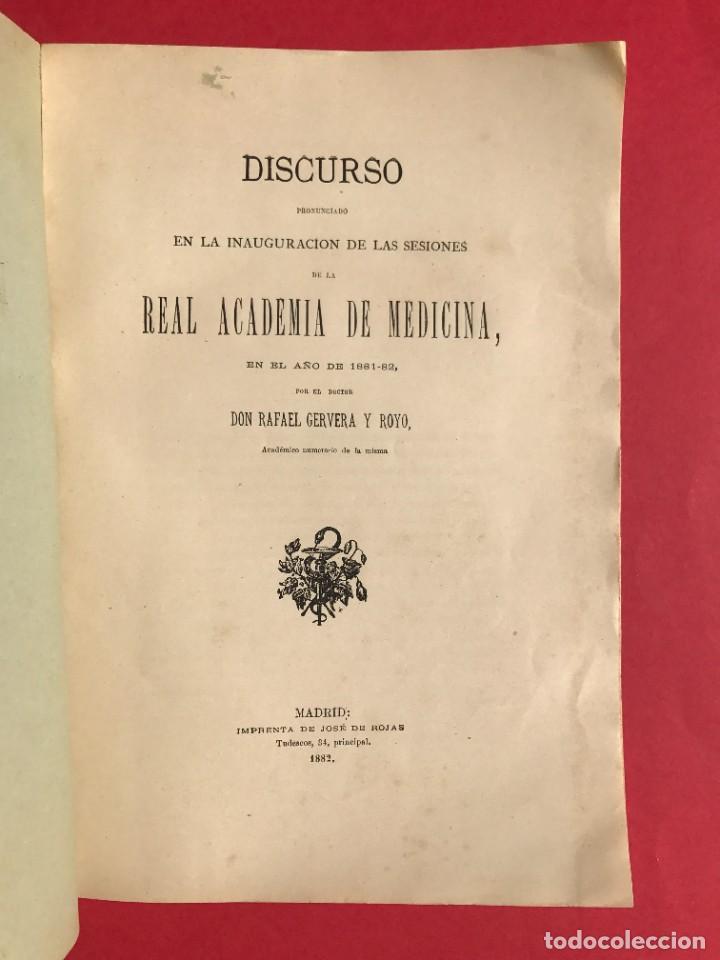 Libros antiguos: 1882 - DISCURSO INAGURAL DE LA REAL ACADEMIA DE MEDICINA - RAFAEL CERVERA - Foto 2 - 246487825