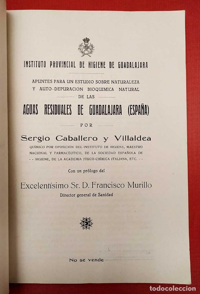 Libros antiguos: AGUAS RESIDUALES DE GUADALAJARA. ESPAÑA. AÑO: 1927. BUEN ESTADO. - Foto 2 - 246541830