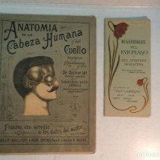 Libros antiguos: PLANCHAS MOVIBLES: ANATOMÍA DE LA CABEZA Y DESARREGLOS DEL ESTÓMAGO (2 PUBLICACIONES). Lote 253582710