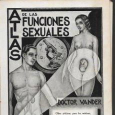 Libros antiguos: ATLAS DE LAS FUNCIONES SEXUALES, DOCTOR: VANDER, AÑO 1934, VER FOTOS. Lote 253920860