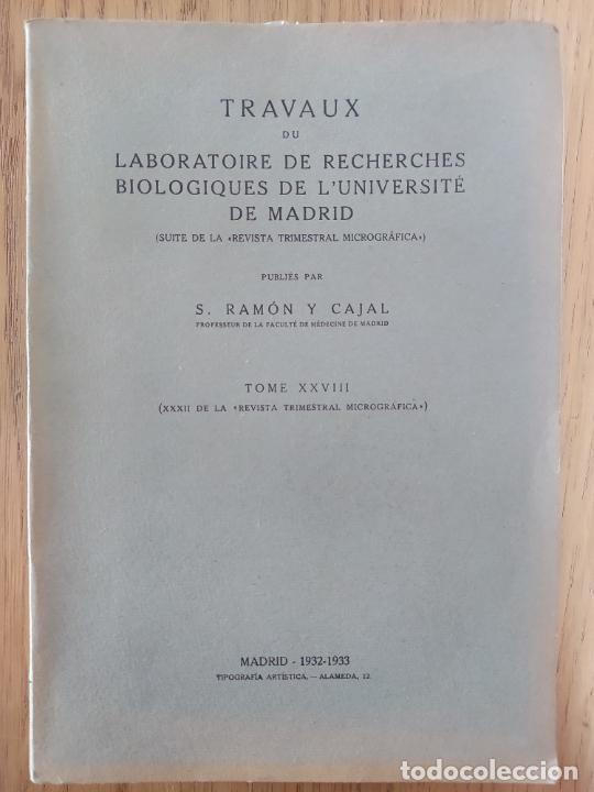 Libros antiguos: Ramon y Cajal. Travaux du laboratoire de recherches biologiques de lUniversité de Madrid. 1933 - Foto 2 - 255558370