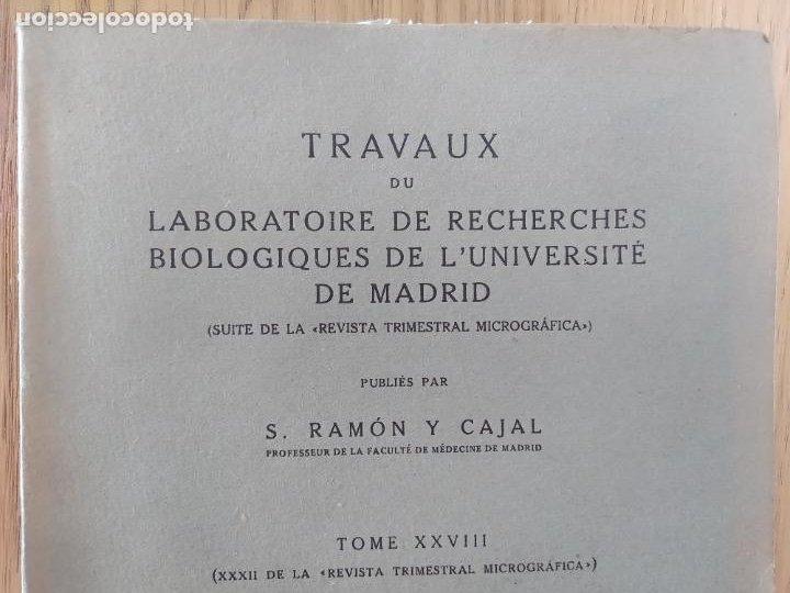 Libros antiguos: Ramon y Cajal. Travaux du laboratoire de recherches biologiques de lUniversité de Madrid. 1933 - Foto 4 - 255558370
