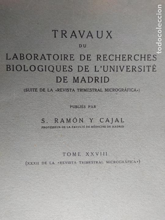 RAMON Y CAJAL. TRAVAUX DU LABORATOIRE DE RECHERCHES BIOLOGIQUES DE L'UNIVERSITÉ DE MADRID. 1933 (Libros Antiguos, Raros y Curiosos - Ciencias, Manuales y Oficios - Medicina, Farmacia y Salud)
