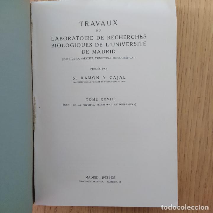 Libros antiguos: Ramon y Cajal. Travaux du laboratoire de recherches biologiques de lUniversité de Madrid. 1933 - Foto 11 - 255558370