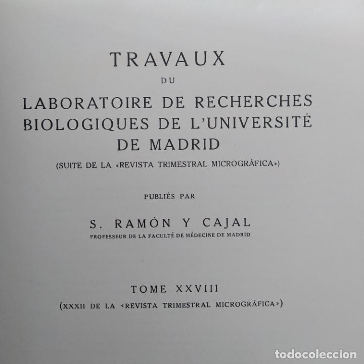 Libros antiguos: Ramon y Cajal. Travaux du laboratoire de recherches biologiques de lUniversité de Madrid. 1933 - Foto 12 - 255558370