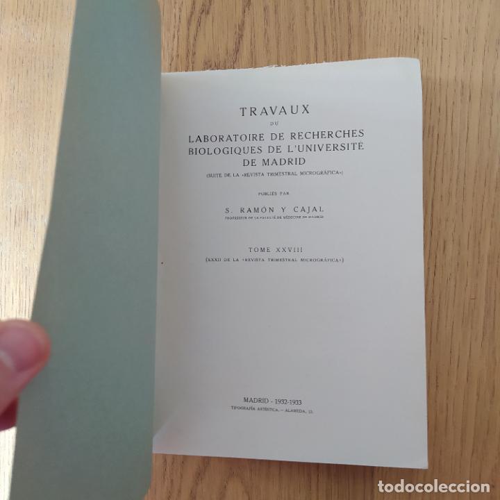 Libros antiguos: Ramon y Cajal. Travaux du laboratoire de recherches biologiques de lUniversité de Madrid. 1933 - Foto 13 - 255558370