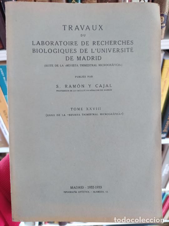 Libros antiguos: Ramon y Cajal. Travaux du laboratoire de recherches biologiques de lUniversité de Madrid. 1933 - Foto 3 - 255558370