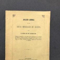 Libros antiguos: 1862 - ANALISIS QUIMICA DE LAS AGUAS MINERALES DE ALCEDA - BALNEARIO - CANTABRIA. Lote 259875840