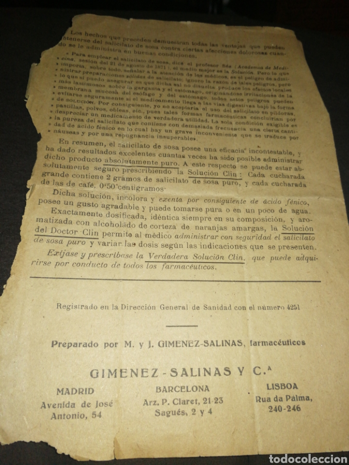 Libros antiguos: ANTIGUO FOLLETO, SALICILATO DE SOSA DEL DOCTOR CLIN. GIMENEZ-SALINAS - Foto 3 - 261305725