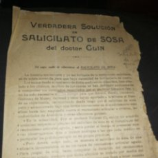 Libros antiguos: ANTIGUO FOLLETO, SALICILATO DE SOSA DEL DOCTOR CLIN. GIMENEZ-SALINAS. Lote 261305725