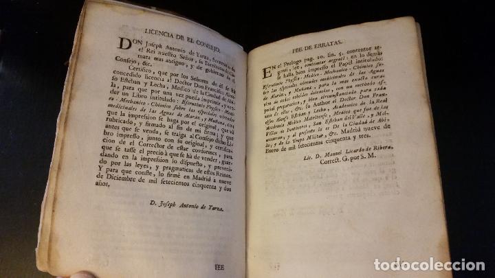 Libros antiguos: 1753 - ESTEBAN Y LECHA - Escrutinio sobre virtudes medicinales de las Aguas de Alaraz y Muñana - Foto 5 - 262462200