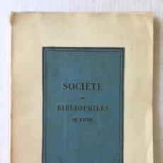 Libros antiguos: LÉPREUX (LES) A REIMS. QUINZIÈME SIÈCLE.. Lote 123146748