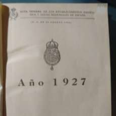 Libros antiguos: GUÍA OFICIAL DE LOS ESTABLECIMIENTOS BALNEARIOS Y AGUAS MEDICINALES DE ESPAÑA. Lote 269707758