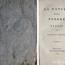 Libros antiguos: RIGOLI, GIOVANNI. LA NATURA DELLA FEBBRE. 1810.. Lote 269811563