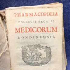 Libros antiguos: FARMACOPEA PHARMACOPOEIA COLLEGII REGALIS MEDICORUM LONDINENSIS 1720 PRINCIPIS GEORGII 15X10,5CMS. Lote 271073328