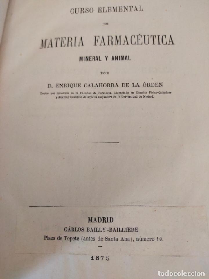 CURSO ELEMENTAL DE MATERIA FARMACÉUTICA 1875 (Libros Antiguos, Raros y Curiosos - Ciencias, Manuales y Oficios - Medicina, Farmacia y Salud)
