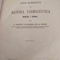 Libros antiguos: CURSO ELEMENTAL DE MATERIA FARMACÉUTICA 1875. Lote 271279278