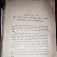 Libros antiguos: HIGIENE DEL MATRIMONIO DOCTOR MASERAS RIBERA 1921 ? SIN TAPA PORTADA DELANTERA. Lote 289923918