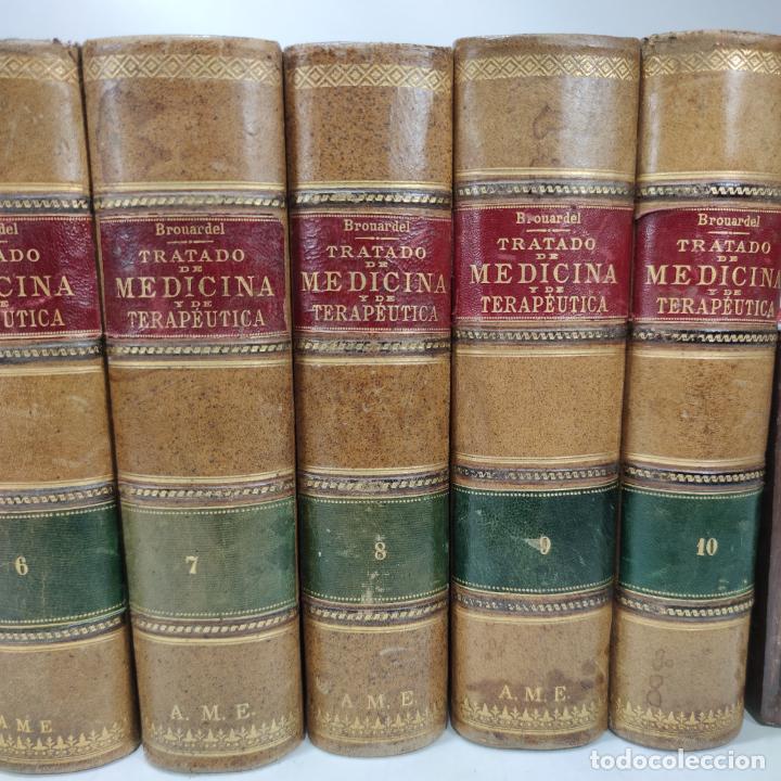 Libros antiguos: Tratado de medicina y terapéutica. P. Brouardel. D. José Núñez Granés. 10 tomos. Madrid. 1901. - Foto 4 - 290962338