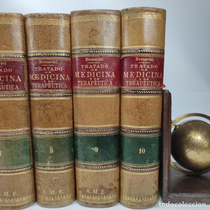 Libros antiguos: Tratado de medicina y terapéutica. P. Brouardel. D. José Núñez Granés. 10 tomos. Madrid. 1901. - Foto 5 - 290962338