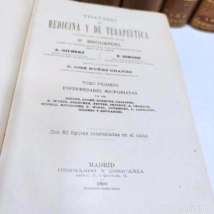 Libros antiguos: Tratado de medicina y terapéutica. P. Brouardel. D. José Núñez Granés. 10 tomos. Madrid. 1901. - Foto 7 - 290962338