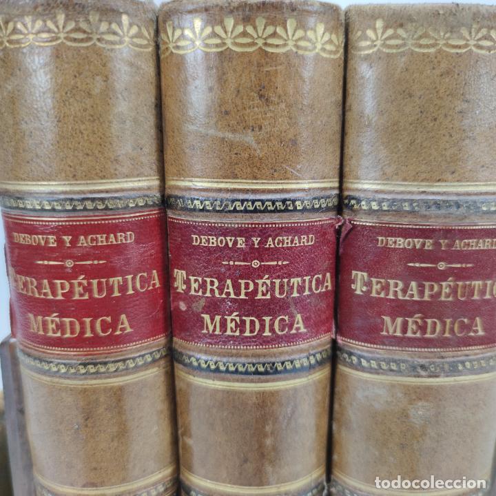 Libros antiguos: Manual de terapéutica médica. G.M. Debove y CH. Achard. D. Patricio Barco y Pons. 3 tomos. 1902. - Foto 2 - 290962818