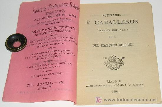 Libros antiguos: LIBRETOS DE OPERA EN ESPAÑOL. PURITANOS Y CABALLEROS, OPERA EN TRES ACTOS DEL MAESTRO BELLINI. GALER - Foto 2 - 6566365