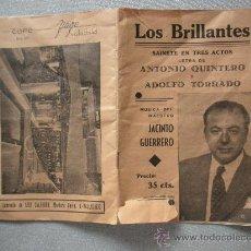 Libros antiguos: LIBRITO, SAINETE EN TRES ACTOS, LETRA DE ANTONIO QUINTERO Y ADOLFO TORRADO CON PUBLICIDAD. Lote 26096123