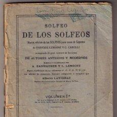 Libros antiguos: SOLFEO DE LOS SOLFEOS - VOLUMEN 1A - ENRIQUE LEMOINE - 1910. Lote 31034594